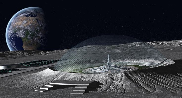 moon base - concept art for a domed lunar city in one of the Moon's craters Getty.