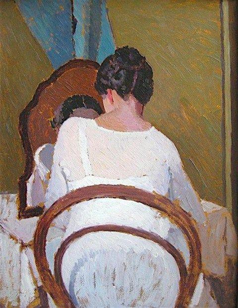 Oscar Ghiglia  (Livorno, 1876 - Firenze, 1945) Donna allo specchio