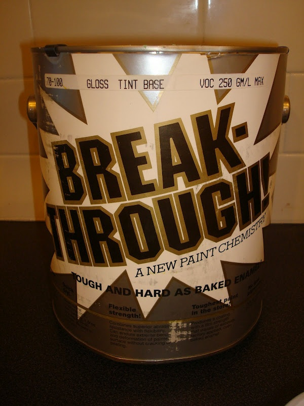 Break-through is low- VOCs and is one of the strongest paints out there. It turns tacky in about 30 mins from application and within 2 hours you can recoat. Once it is fully dries it has the strength and tough-ness of baked enamel!