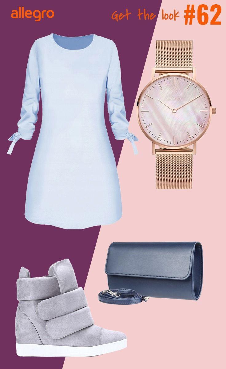 Prosta Sukienka Niebieska Sukienka Buty Na Koturnie Sneakersy Na Koturnie Zloty Zegarek Mini Dress Fashion Dresses