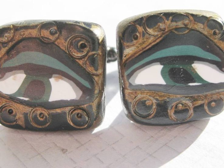 Evile EYE Mati Handmade Polymer square tile CUFF LINKS one of a kind