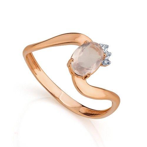 Anel em Ouro Rosê 18k Quartzo Rosa Oval e Diamantes an33527 - Joiasgold