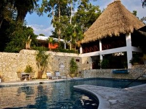 The refreshing pool at the Camino Real Tikal Hotel