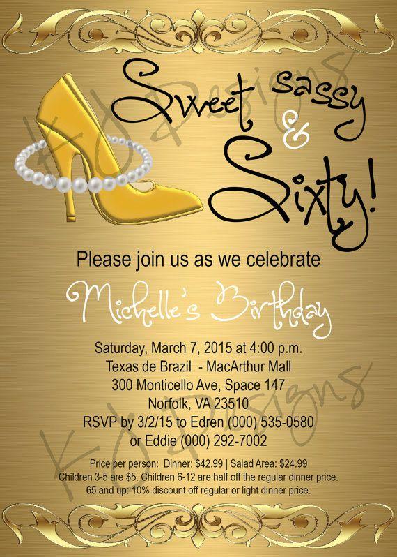 60th birthday invitation, sweet, sassy, and sixty, gold theme, heels, pearls…