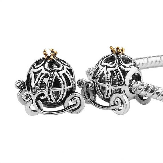 CINDERELLA CARRIAGE Sterling Silver Charm Bead - Disney Style - Great Detail - Fits European Charm Bracelets H1zVVK