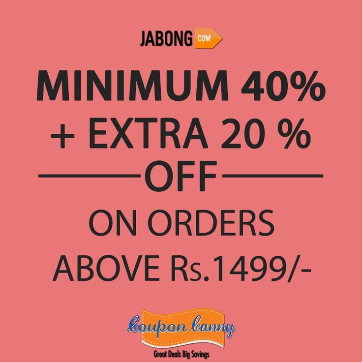 Get minimun 40% plus 20% extra off at #Jabong Claim Now: http://www.couponcanny.in/jabong-coupons/