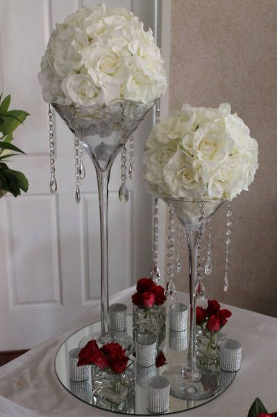 Wedding Centerpiece - white flower balls + Mirror base