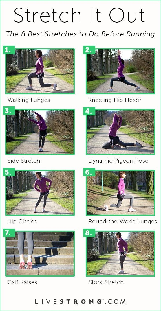Stretch Together The 8 Best Stretches to Do Before Running | Nothing can derail your fitness goals like an injury. Running with muscles that are cold and not properly stretched can result in a muscle strain that keeps you off your feet -- and off the road or trail -- for days, weeks or even months. Beginning each running workout with a 5- to 10-minute jog followed by stretching helps warm up your muscles sufficiently so they�re primed for your run, whether it�s a couple of miles or a…