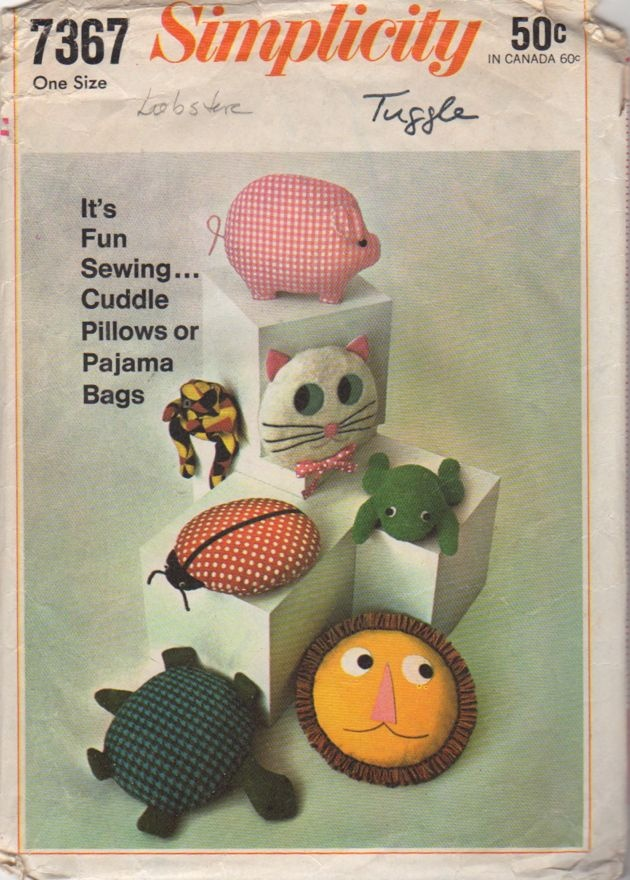 Simplicity 7367 1960s Animal Pillow Pajama Bag Pattern Pig