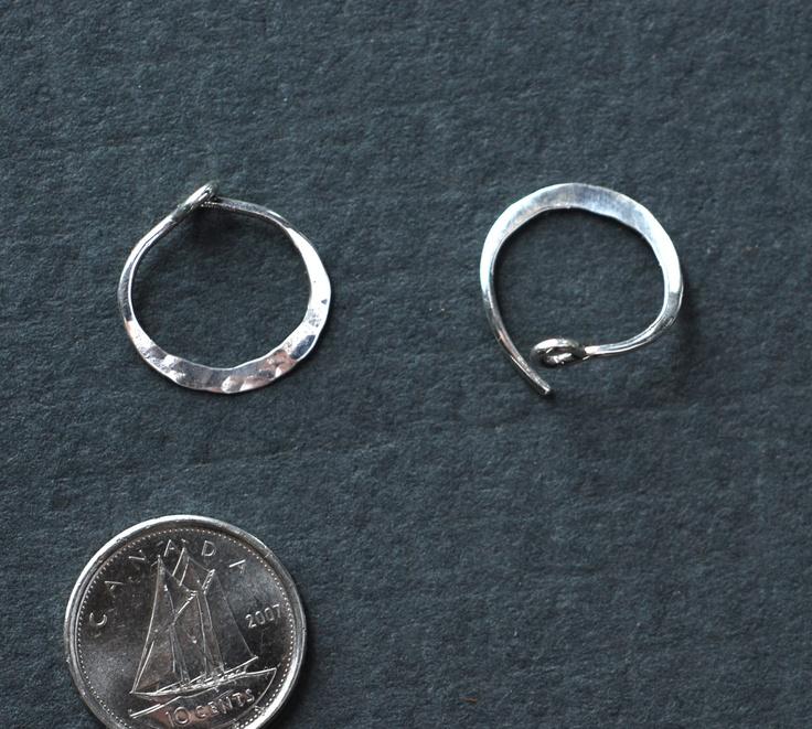 Large 925 Sterling Silver Hammered Hoops Earrings 7cm H8AITRu