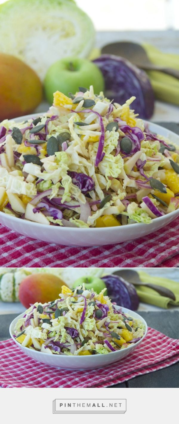 Fall Apple Mango Slaw - A crunchy cruciferous salad made with two types of cabbage and two types of apples. #vegansalad #vegan #slaw