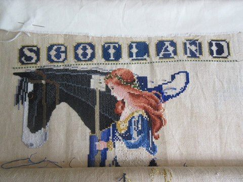awesome  celtic lady cross stitch conversions Scotland horse by katefreddy