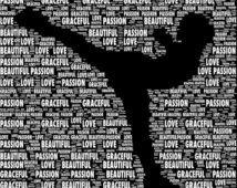 Regali personalizzati pattinaggio di figura, parola arte, arte della parete, regalo fatto in casa, citazioni di sport