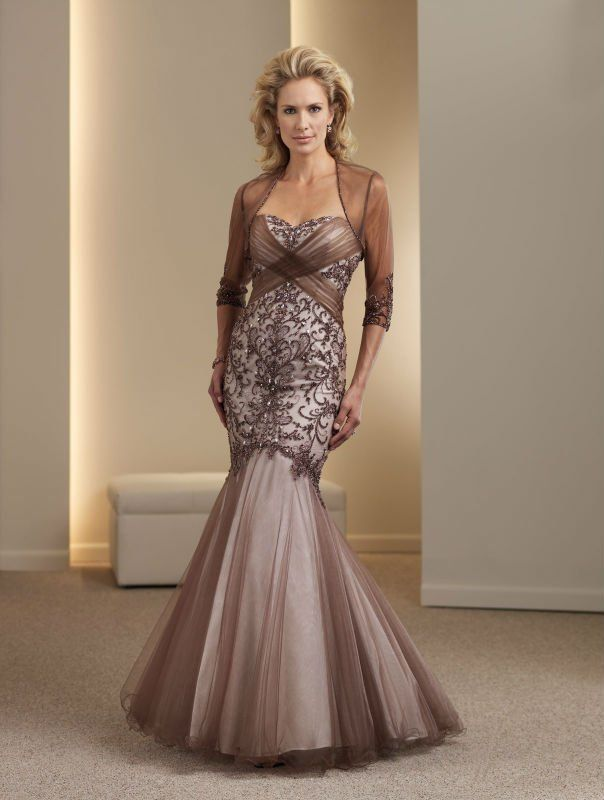 Tulle And Taffeta Strapless Sweetheart Ruched Crisscross Bodice Mermaid Mother Bride Dress