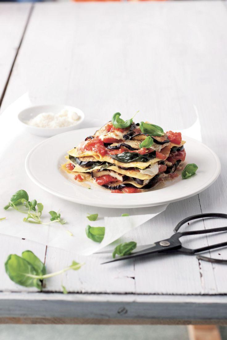 Vegetarische lasagne met aubergine en tomaten