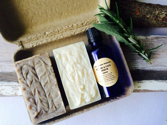 Men's Skincare Gift. Soap. Beard/Face Serum by PureHavenNaturals