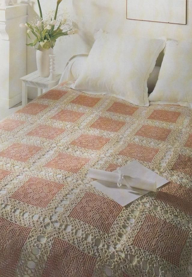 Crochet block bedspread with diagram༺✿ƬⱤღ https://www.pinterest.com/teretegui/✿༻