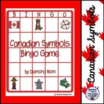 Canadian Symbols Bingo Game This is a set of 6 different bingo cards featuring symbols of Canadian importance.