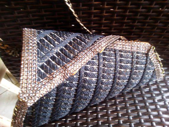 New plastic canvas triangular bag elegant totaly handmade