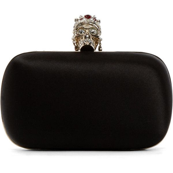 Alexander Mcqueen Black Classic Skull Clutch found on Polyvore featuring bags, handbags, clutches, black skull handbag, black leather clutches, leather purse, structured handbag and alexander mcqueen handbags