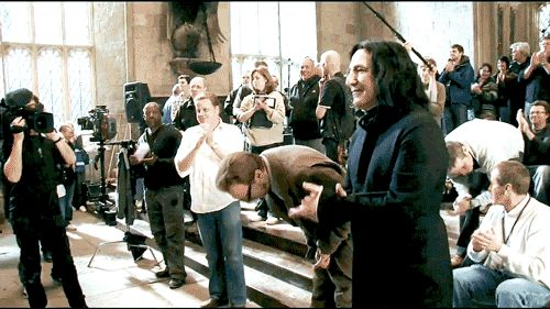 """David Thewlis' and Alan Rickman's last day on the set of """"Harry Potter and the Deathly Hallows – Part 2"""" about 2010"""