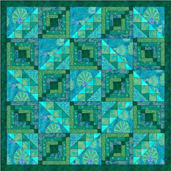 Peacocks Parade green quilt.  This would be a great batik stash busting project. Doing it! :D