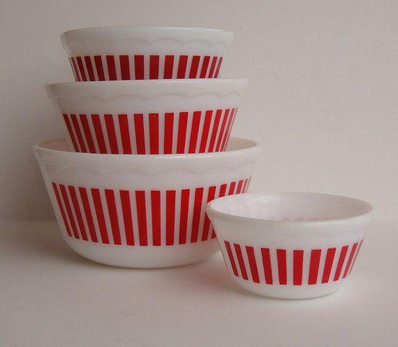Hazel Atlas Nesting Bowls Candy Stripe Red and White Mixing Bowls, Milk Glass Red Candy Stripe