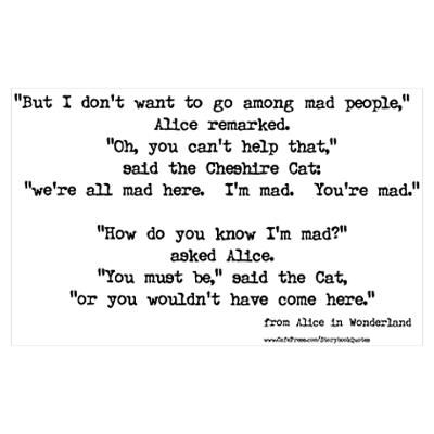 gothic alice in wonderland mad hatter quotes about being mad