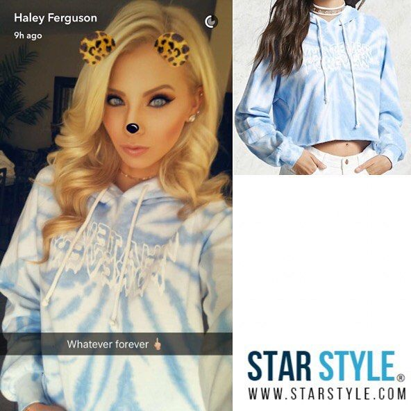 Haley Ferguson wore a Forever 21 hoodie on Snapchat today  Shopping info at www.starstyle.com