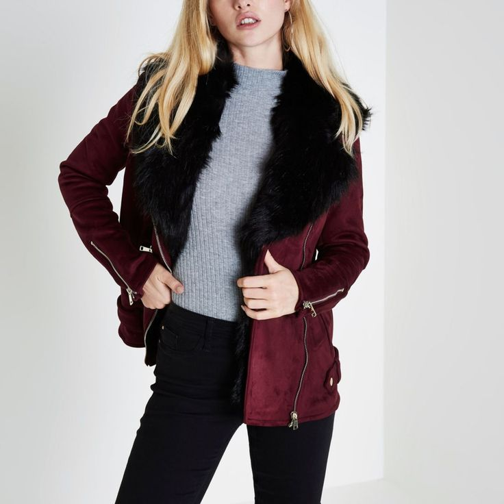 Faux suede fabric Fur trim Aviator style Long sleeve Front zip pockets Asymmetric zip front fastening Our model wears a UK 8 and is 175cm/5'9'' tall