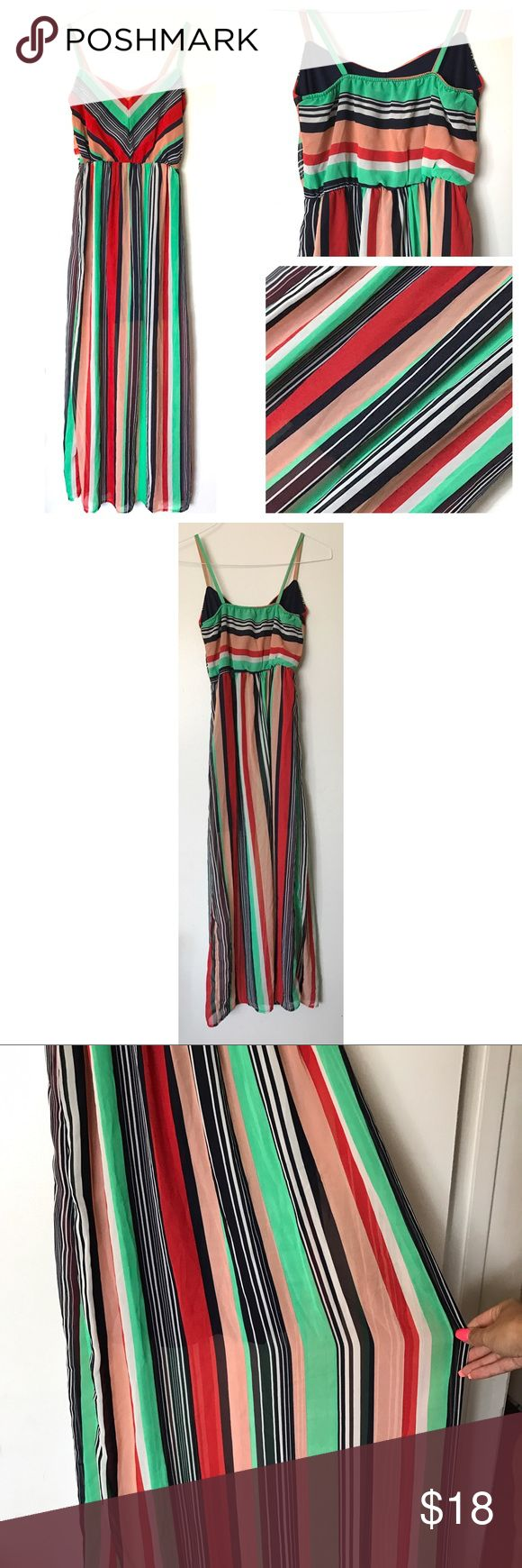 "Rainbow Striped Flowy Semi-Sheer Maxi Dress Worn a few times gently. Slight wrinkles on some parts of the skirt from storage. Nothing major. No wear signs/rips/stains.  Smoke free pet friendly. Chest fits 30-35"" and waist 24-28"" measurements taken unstretched then stretched to determine range of fit. Dark blue part of dress hits mid thigh underneath and the rest of the skirt is semi-Sheer. Ruby Rox Dresses Maxi"