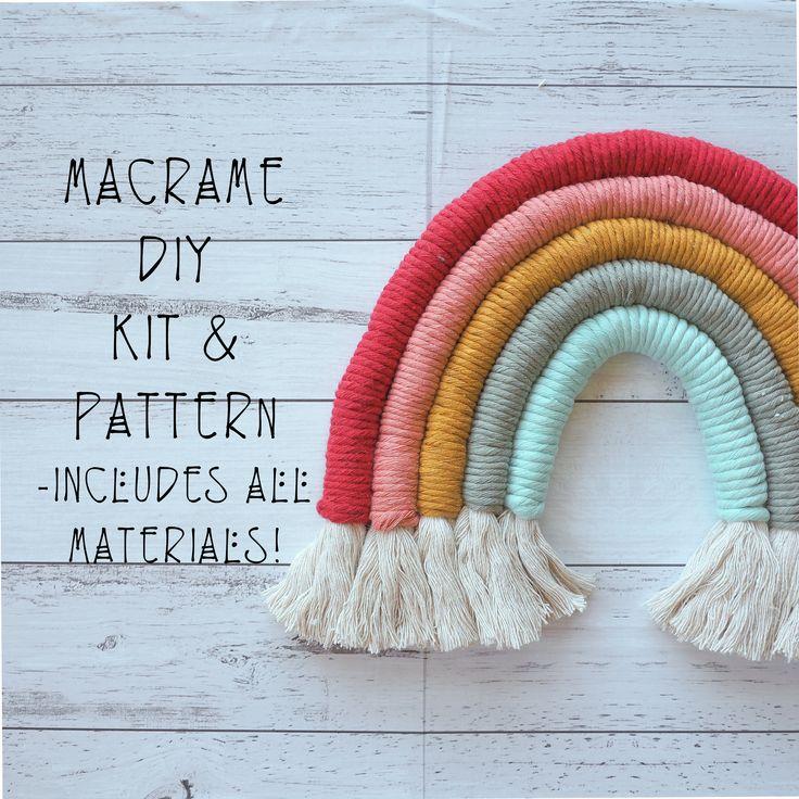 DIY Macrame Rainbow Wall Hanging KIT and PATTERN