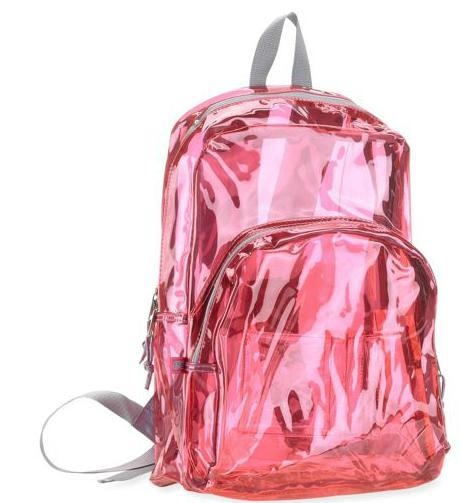 Details About B18 Pink Clear Tinted Backpack Bag Bookbag