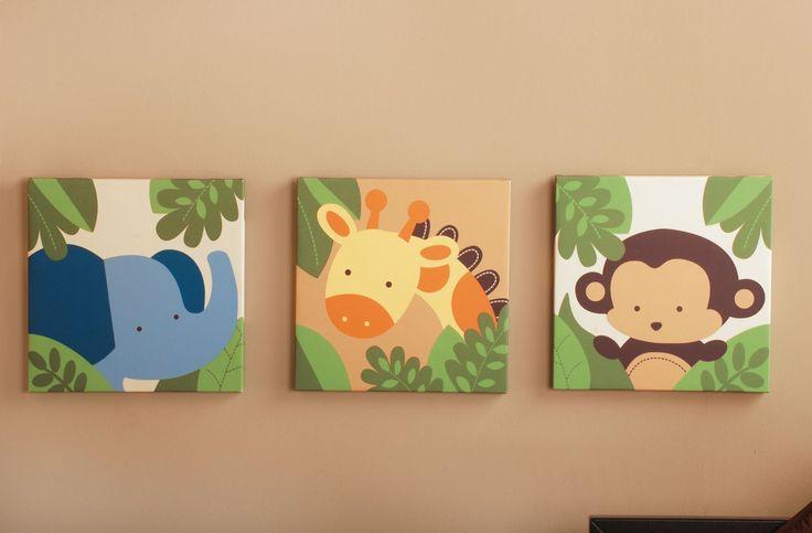 Kids Line Canvas Wall Art-3 Pc. - Jungle 123 - Best Price  #DiaperscomNursery