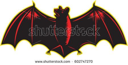 Illustration of bat looking up to the side with wings spread out viewed from front set on isolated white background.   #bat #woodcut #illustration