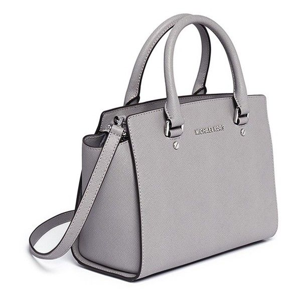 Michael Kors 'Selma' medium saffiano leather satchel ($455) ❤ liked on Polyvore featuring bags, handbags, purses, accessories, michael michael kors purse, grey satchel handbag, gray satchel handbag, gray satchel and satchel bags