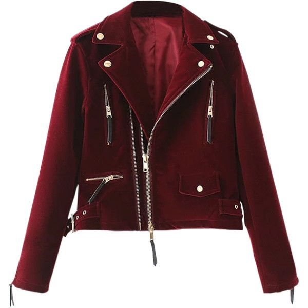 Lapel Velvet Biker Jacket (715 ARS) ❤ liked on Polyvore featuring outerwear, jackets, lapel jacket, red moto jacket, rider jacket, red jacket and red motorcycle jacket