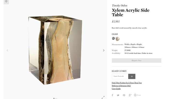 CocoRepublic Xylem Acrylic Side Table 	 Width x Depth x Height: 300mm x 300mm x 450mm Smooth cold acrylic is juxtaposed with the warmth of raw driftwood