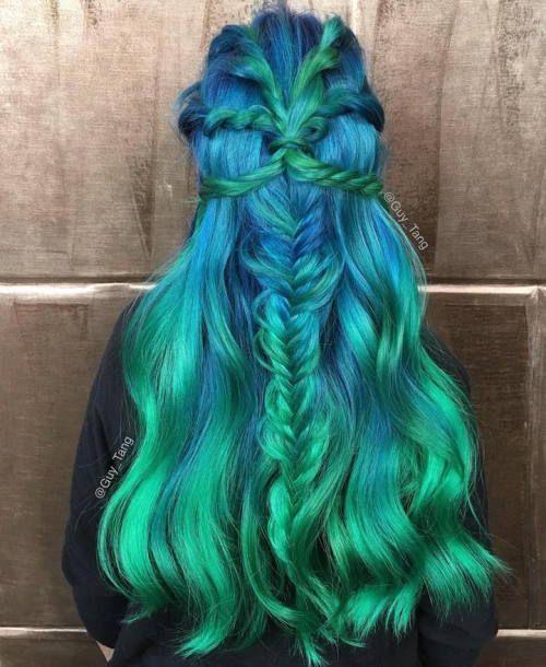 Meerjungfrau Haare Wir Lieben Sie Blau Mit Fischgrätenzopf Und