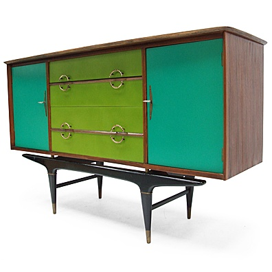 A retro sideboard cabinet refurbished with new green and turquoise color . how cool .70's . retro . furniture