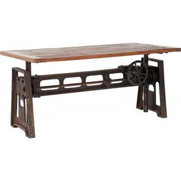 Une #table originale au look #industriel et #vintage grâce à son mélange de bois recyclé et de fer avec une roue placée dans sa structure qui rappelle les anciennes machines. Table en bois Steamboat 160x80 cm Kare #Design