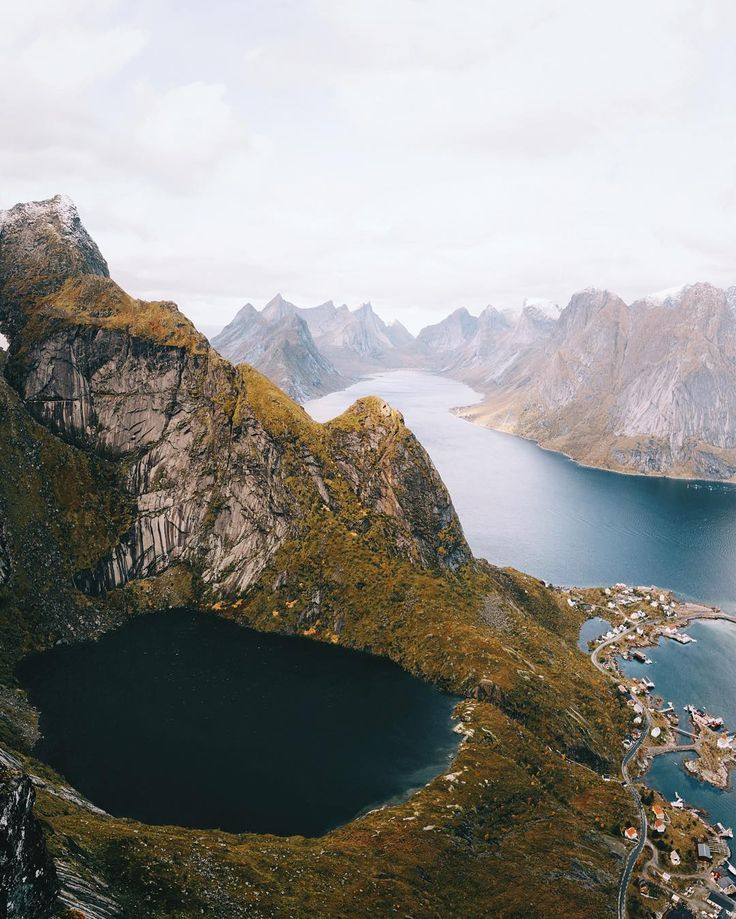 The Reinevatn seen from the top of the Reinebringen. Slowly getting used to seeing lakes and the ocean so close from each other.. by alexstrohl
