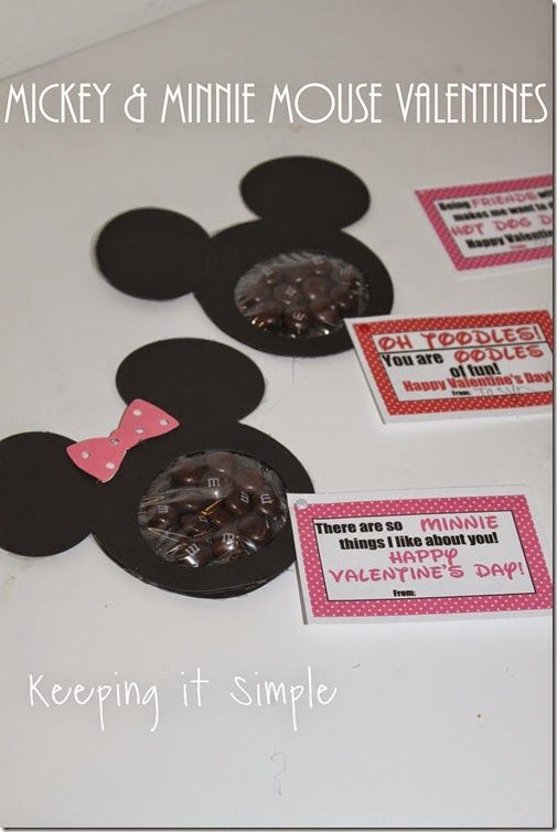 Mickey Mouse and Minnie Mouse Homemade Valentine with Free Printable @keepingitsimple