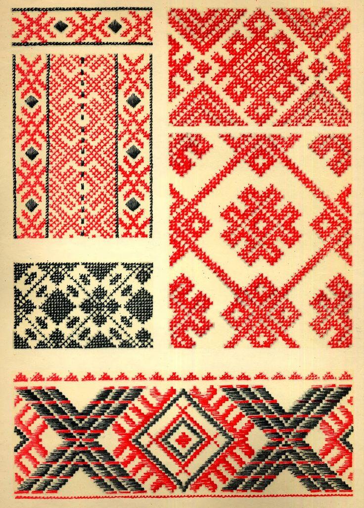 ukrainian folk embroidery: Ukrainian Folk Embroidery, I. F. Krasyts'ka, 1960, plate 5, embroidery of Volyn' Oblast, plate 6, embroidery of L'viw Oblast, plate 7, embroidery of Ivano-Frankiwsk Oblast