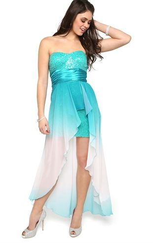 My Formal Dress!  <3 Ombre Strapless Dress with Sequin Bodice and High Low Hem from Debs!