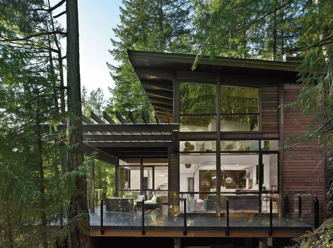 light. two story, simplisic rustic look. Deck. need shade
