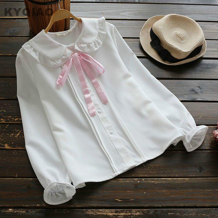 Cheap white blouse, Buy Quality lolita shirt directly from China blouse lolita Suppliers: KYQIAO Mori girls autumn KAWAI long sleeve peter pan collar pink bowknot white blouse Lolita shirt Japanese school uniform