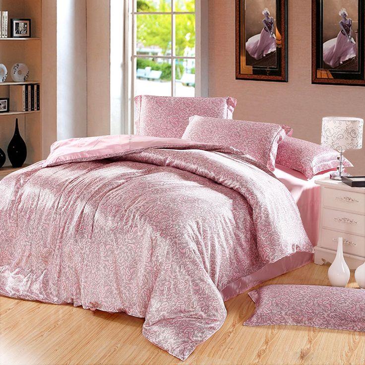 Amorous Feelings Pink Silk Duvet Cover Set Bedding