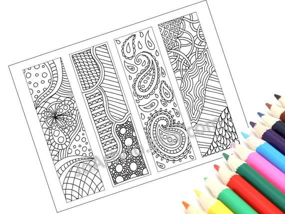 Zentangle Inspired Bookmarks- Printable Coloring