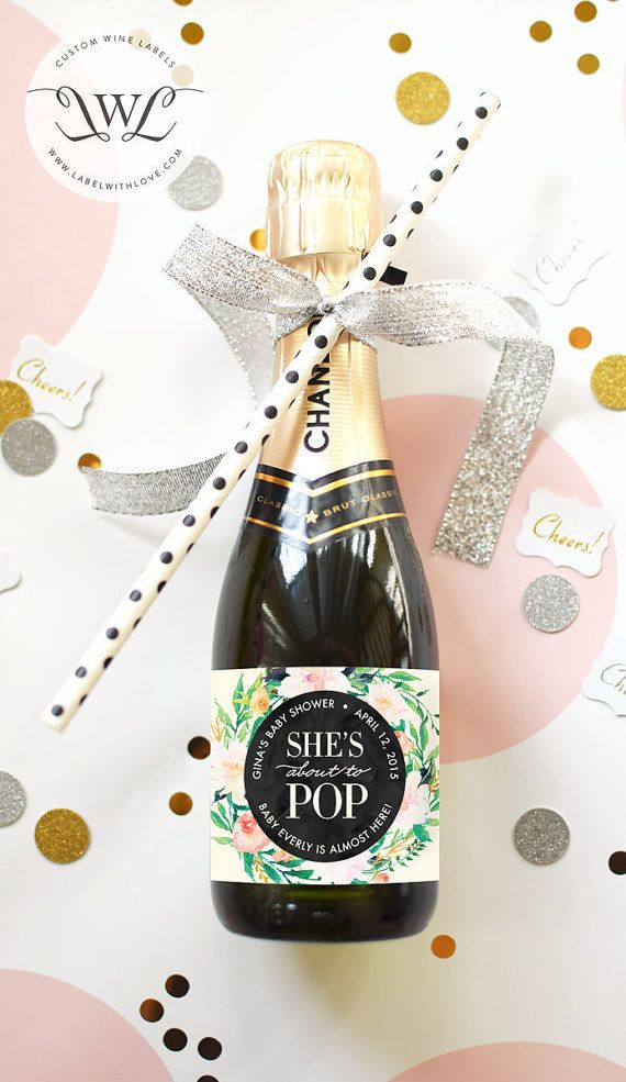 About to Pop Mini Champagne Labels - Weatherproof Ready to Pop Baby Sprinkle Watercolor Floral Baby Shower Champagne Favor